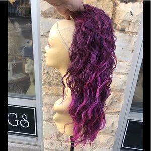 Purple drawstring ponytail curly